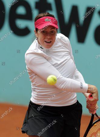 Anastasia Pavlyuchenkova of Russia returnS the ball to Karolina Pliskova of the Czech Republic during their match at the Madrid Open tennis tournament in Madrid, Spain