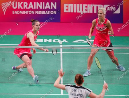 Gabriela Stoeva (R) and Stefani Stoeva of Bulgaria in action against Cloe Birch and Lauren Smith of England during the women's doubles final match at the European Badminton Championships in Kiev, Ukraine, 02 May 2021.