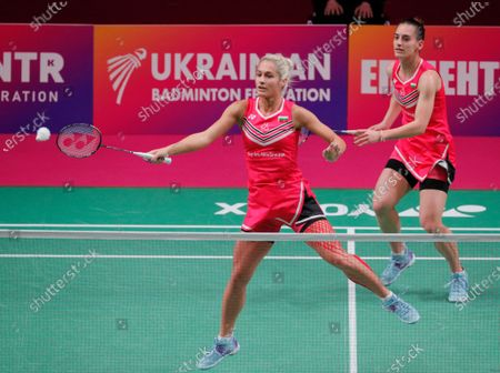 Gabriela Stoeva (L) and Stefani Stoeva of Bulgaria in action against Cloe Birch and Lauren Smith of England during the women's doubles final match at the European Badminton Championships in Kiev, Ukraine, 02 May 2021.
