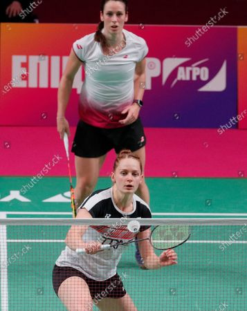 Cloe Birch and Lauren Smith (front) of England in action against Gabriela Stoeva and Stefani Stoeva of Bulgaria during the women's doubles final match at the European Badminton Championships in Kiev, Ukraine, 02 May 2021.