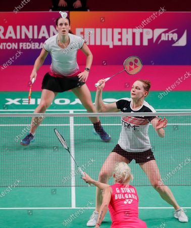 Cloe Birch and Lauren Smith (R) of England in action against Gabriela Stoeva and Stefani Stoeva of Bulgaria during the women's doubles final match at the European Badminton Championships in Kiev, Ukraine, 02 May 2021.