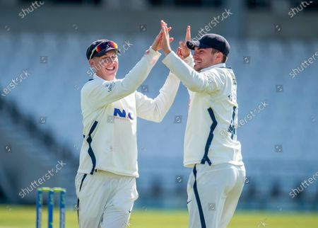 Stock Image of Yorkshire's Harry Brook & Jordan Thompson celebrate victory by one run over Northamptonshire.