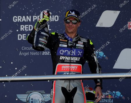 Second placed Swiss MotoE rider Dominique Aegerter of Dynavolt Intact GP celebrates after the Spanish Motorcycling Grand Prix at Jerez racetrack in Jerez de la Frontera, southern Spain, 02 May 2021.