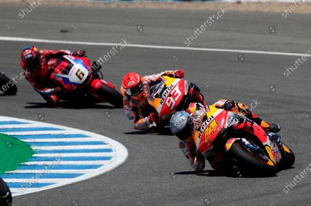 Spanish MotoGP rider Pol Espargaro (R) of Repsol Honda team takes a bend ahead of his teammate Marc Marquez (C) and German Stefan Bradl, of Honda HRC during the Spanish Motorcycling Grand Prix at Jerez racetrack in Jerez de la Frontera, southern Spain, 02 May 2021.