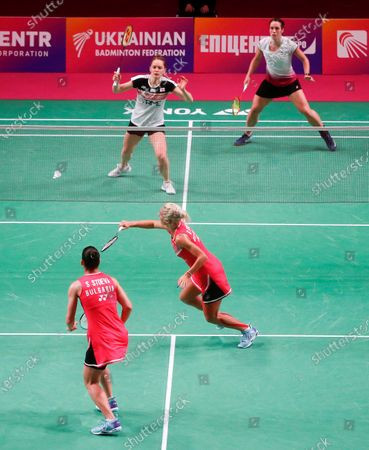 Gabriela Stoeva and Stefani Stoeva of Bulgaria compete against Chlioe Birch and Lauren Smith of England during the doubles women's final match at the European Badminton Championships in Kyiv, Ukraine, . Gabriela Stoeva and Stefani Stoeva won gold medals