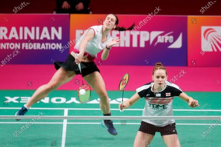 Chlioe Birch and Lauren Smith of England compete against Gabriela Stoeva and Stefani Stoeva of Bulgaria during the doubles women's final match at the European Badminton Championships in Kyiv, Ukraine, . Chlioe Birch and Lauren Smith won silver medals