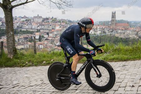 Britain's Geraint Thomas of team Ineos Grenadiers in action during the fifth and last stage of the 74th Tour de Romandie cycling tour, an 16.2 km individual time trial in Fribourg, Switzerland, 02 May 2021.
