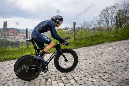 Stock Image of Britain's Geraint Thomas of team Ineos Grenadiers in action during the fifth and last stage of the 74th Tour de Romandie cycling tour, an 16.2 km individual time trial in Fribourg, Switzerland, 02 May 2021.