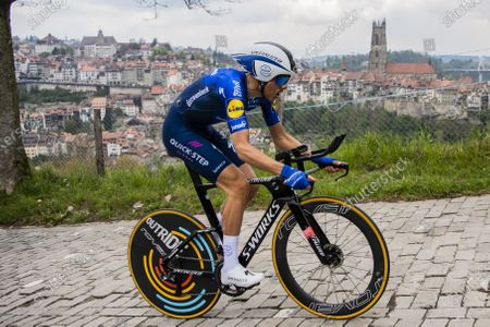 Italian rider Fausto Masnada of team Deceuninck-Quick-Step in action during the fifth and last stage of the 74th Tour de Romandie cycling tour, an 16.2 km individual time trial in Fribourg, Switzerland, 02 May 2021.