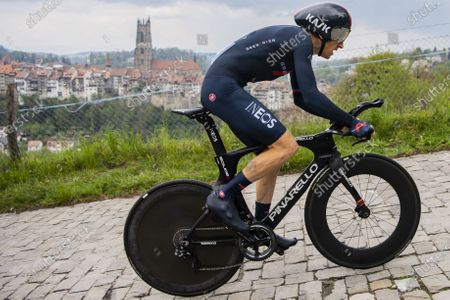 Stock Picture of Britain's Geraint Thomas of team Ineos Grenadiers in action during the fifth and last stage of the 74th Tour de Romandie cycling tour, an 16.2 km individual time trial in Fribourg, Switzerland, 02 May 2021.