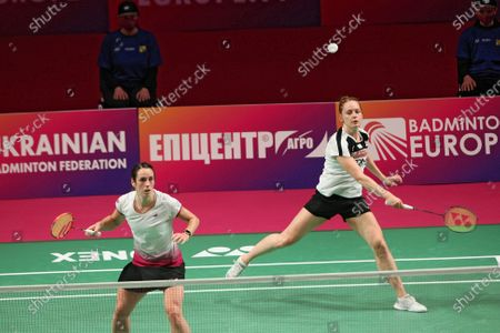 Chloe Birch (L) and Lauren Smith of England compete against Gabriela Stoeva and Stefani Stoeva of Bulgaria during the women's doubles final match at the 2021 European Badminton Championships at the Palace of Sports, Kyiv, capital of Ukraine.