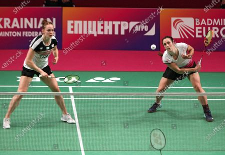 Stock Picture of Chloe Birch (R) and Lauren Smith of England compete against Gabriela Stoeva and Stefani Stoeva of Bulgaria during the women's doubles final match at the 2021 European Badminton Championships at the Palace of Sports, Kyiv, capital of Ukraine.