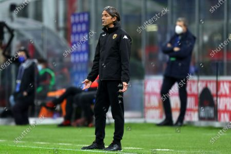 Filippo Inzaghi, head coach of Benevento Calcio AC Milanduring the Serie A match between AC Milan and Benevento Calcio. at Stadio Giuseppe Meazza on May 1 2021 in Milan, Italy.