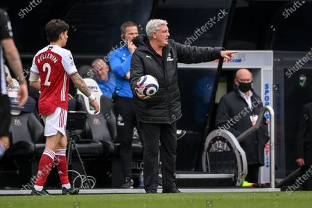 Newcastle manager Steve Bruce (R) gestures during the English Premier League soccer match between Newcastle United and Arsenal FC in Newcastle, Britain, 02 May 2021.