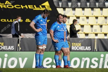 La Rochelle vs Leinster. Leinster's Ryan Baird, Ed Byrne and Hugo Keenan dejected after the game