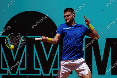 Pedro Martinez of Spain in action during his first round match against Tommy Paul of US at the Mutua Madrid Open tennis tournament, in Madrid, Spain, 02 May 2021.