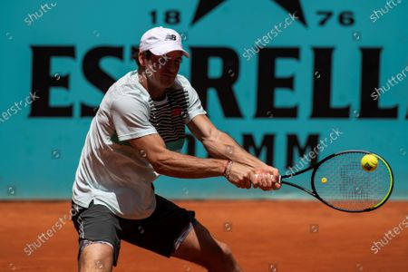 Tommy Paul of US in action during his first round match against Pedro Martinez of Spain at the Mutua Madrid Open tennis tournament, in Madrid, Spain, 02 May 2021.