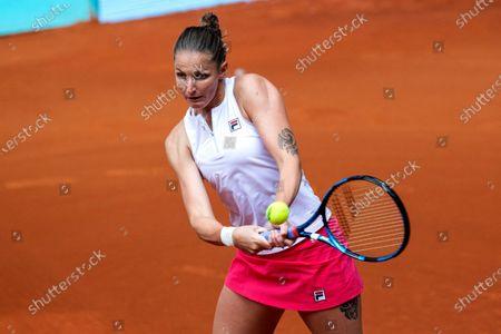 Stock Photo of Karolina Pliskova of Czech Republic in action during her match against Anastasia Pavlyuchenkova of Russia at the Mutua Madrid Open tennis tournament, in Madrid, Spain, 02 May 2021.