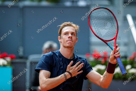 Denis Shapovalov of Canada reacts during his match against Dusan Lajovic of Serbia  at the Mutua Madrid Open tennis tournament, in Madrid, Spain, 02 May 2021.