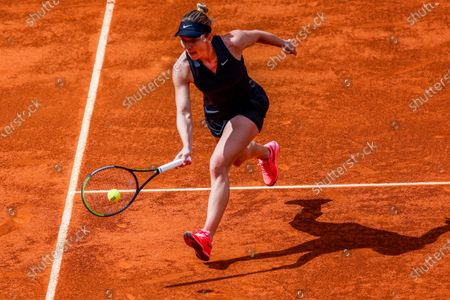 Simona Halep of Romania in action during her match against Zheng Saisai of China at the Mutua Madrid Open tennis tournament, in Madrid, Spain, 02 May 2021.