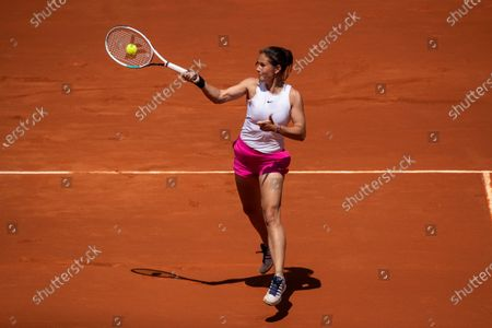 Daria Kasatkina of Russia in action during her match against Aryna Sabalenka of Bulgaria at the Mutua Madrid Open tennis tournament, in Madrid, Spain, 02 May 2021.