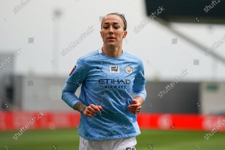 Manchester City Women defender Lucy Bronze (20) gestures and reacts during the FA Women's Super League match between Manchester City Women and BIrmingham City Women at the Sport City Academy Stadium, Manchester