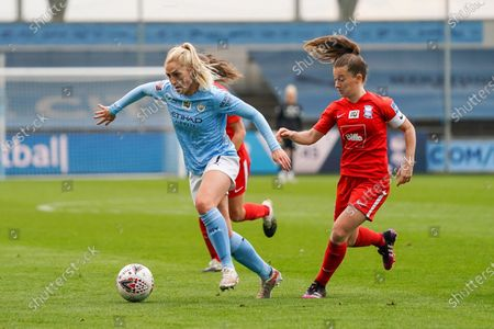 Stock Picture of Manchester City Women midfielder Laura Coombs (7) and Birmingham City Women midfielder Christie Murray (10)  in action during the FA Women's Super League match between Manchester City Women and BIrmingham City Women at the Sport City Academy Stadium, Manchester