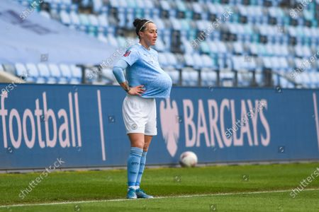 Manchester City Women defender Lucy Bronze (20) gestures and reacts with a ball at a throw in during the FA Women's Super League match between Manchester City Women and BIrmingham City Women at the Sport City Academy Stadium, Manchester