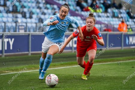 Manchester City Women defender Lucy Bronze (20) in action during the FA Women's Super League match between Manchester City Women and BIrmingham City Women at the Sport City Academy Stadium, Manchester