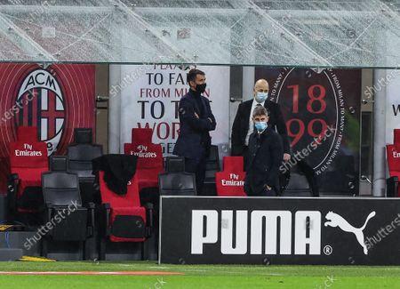 Paolo Maldini Technical Area Director of AC Milan, Ivan Gazidis A.D. of AC Milan and Frederic Massara Sport Director of AC Milan