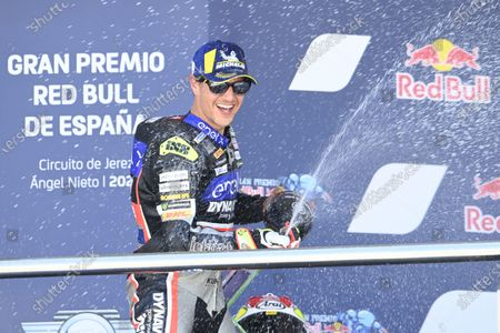CIRCUITO DE JEREZ, SPAIN - MAY 02: Podium: Dominique Aegerter, Dynavolt Intact GP during the Spanish GP at Circuito de Jerez on May 02, 2021 in Circuito de Jerez, Spain. (Photo by Gold and Goose / LAT Images)