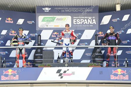 CIRCUITO DE JEREZ, SPAIN - MAY 02: Podium: Race winner Alessandro Zaccone, OCTO Pramac MotoE, second place Dominique Aegerter, Dynavolt Intact GP, third place Jordi Torres, Pons Racing 40 during the Spanish GP at Circuito de Jerez on May 02, 2021 in Circuito de Jerez, Spain. (Photo by Gold and Goose / LAT Images)