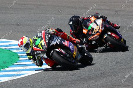 Stock Picture of CIRCUITO DE JEREZ, SPAIN - MAY 02: Dominique Aegerter, Dynavolt Intact GP during the Spanish GP at Circuito de Jerez on May 02, 2021 in Circuito de Jerez, Spain. (Photo by Gold and Goose / LAT Images)