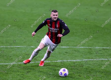 Ante Rebic of AC Milan in action during the 2020/21 Italian Serie A football match between AC Milan and Benevento Calcio at Stadio Giuseppe Meazza. Final score; AC Milan 2:0 Benevento Calcio.
