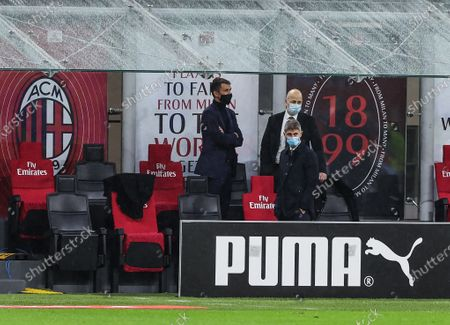 Paolo Maldini Technical Area Director of AC Milan, Ivan Gazidis A.D. of AC Milan and Frederic Massara Sport Director of AC Milan seen during the 2020/21 Italian Serie A football match between AC Milan and Benevento Calcio at Stadio Giuseppe Meazza. Final score; AC Milan 2:0 Benevento Calcio.