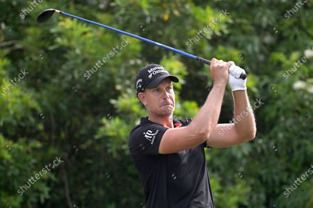 Henrik Stenson, of Sweden, watches his tee shot on the seventh hole during the final round of the Valspar Championship golf tournament, in Palm Harbor, Fla