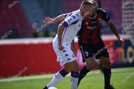 "Franck Ribery (Fiorentina)Danilo Langeria (Bologna)        during the Italian ""Serie A"" match between Bologna 3-3 Fiorentina  at  Renato Dall Ara Stadium in Bologna, Italy."