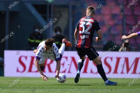 "Dusan Vlahovic (Fiorentina)Mattias Svanberg (Bologna)Franck Ribery (Fiorentina)          during the Italian ""Serie A"" match between Bologna 3-3 Fiorentina  at  Renato Dall Ara Stadium in Bologna, Italy."