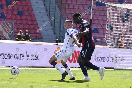 "Stock Image of Franck Ribery (Fiorentina)Adama Soumaoro (Bologna)           during the Italian ""Serie A"" match between Bologna 3-3 Fiorentina  at  Renato Dall Ara Stadium in Bologna, Italy."