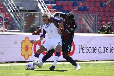 "Franck Ribery (Fiorentina)Adama Soumaoro (Bologna)           during the Italian ""Serie A"" match between Bologna 3-3 Fiorentina  at  Renato Dall Ara Stadium in Bologna, Italy."
