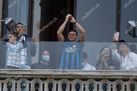 Stock Photo of Inter Milan vice-president Javier Zanetti celebrates after Inter Milan won its first Serie A title in more than a decade after second-placed Atalanta drew 1-1 at Sassuolo, in Milan, Italy, . Atalanta needed to win to avoid Inter mathematically clinching the title with four matches remaining. It was Inter's first trophy since 2011 and the first Serie A title since 2010