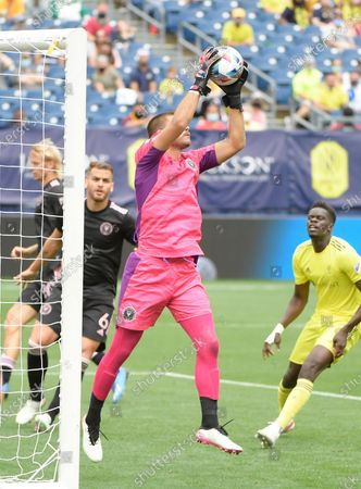 Inter Miami CF goalkeeper John McCarthy (1) makes a save against the Nashville SC during the second half of an MLS game between the Inter Miami CF and the Nashville SC at Nissan Stadium in Nashville TN (Mandatory Photo Credit: Steve Roberts/CSM)