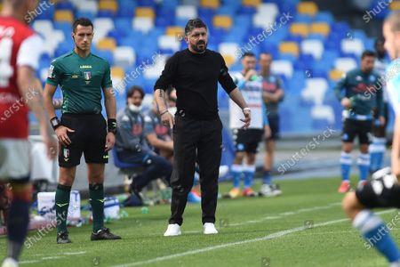 Gennaro Gattuso Head Coach of SSC Napoli during the Serie A match between SSC Napoli and Cagliari Calcio at Stadio Diego Armando Maradona Naples Italy on 2 May 2021.