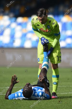 Alex Meret and Kalidou Koulibaly  of SSC Napoli and during the Serie A match between SSC Napoli and Cagliari Calcio at Stadio Diego Armando Maradona Naples Italy on 2 May 2021.