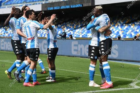 Victor Osimhen of SSC Napoli celebrates after scoring during the Serie A match between SSC Napoli and Cagliari Calcio at Stadio Diego Armando Maradona Naples Italy on 2 May 2021.