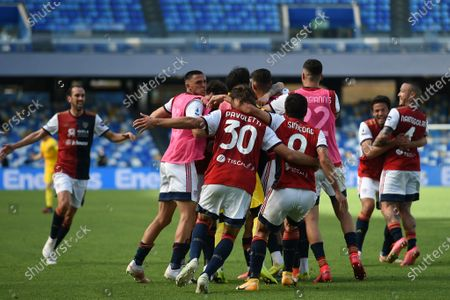 Players of Cagliari Calcio celebrates after scoring 1-1 during the Serie A match between SSC Napoli and Cagliari Calcio at Stadio Diego Armando Maradona Naples Italy on 2 May 2021.