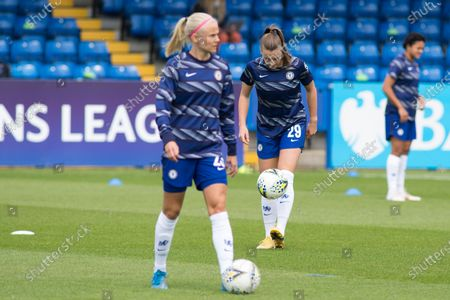 Jorja Fox (Chelsea FC) warms up during the 2020-21 UEFA Women's Champions League fixture between Chelsea FC and Bayern Munich at Kingsmeadow.