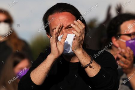 Podemos' candidate to Madrid's regional elections Pablo Iglesias attends his party's last campaign rally ahead of the regional election, in Madrid, Spain, 02 May 2021. Madrid regional elections will be held on 04 May.