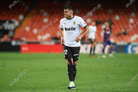Maxi Gomez of Valencia CF during the La Liga Santander match between Valencia and FC Barcelona at Estadio de Mestalla on 2 May, 2021 in Valencia, Spain