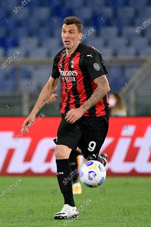 Mario Mandzukic of AC Milan in action during the 2020-2021 Italian Serie A Championship League match between S.S. Lazio and AC Milan at Stadio Olimpico. Final score; S.S. Lazio 3:0 AC Milan.